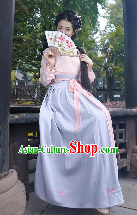 Asian Chinese Oriental Hanfu Costumes Embroidered Pink Blouse and Skirt, Traditional China Han Dynasty Embroidery Clothing for Women
