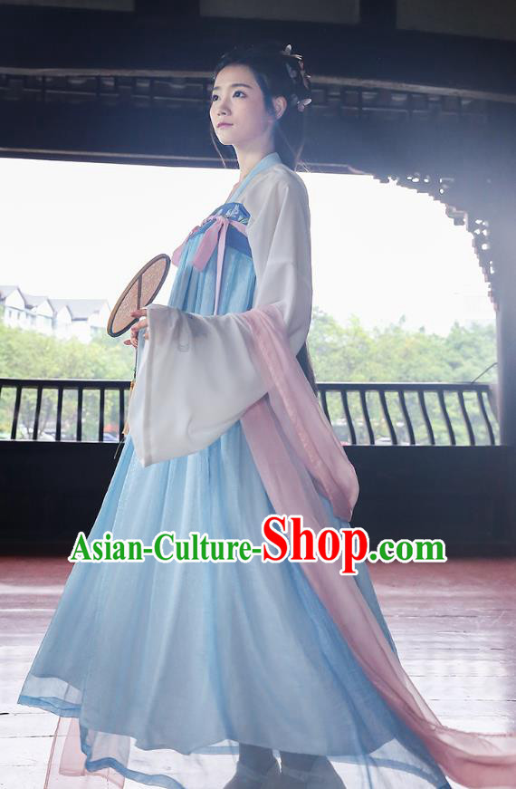 Asian Chinese Oriental Hanfu Costumes Embroidered Blouse and Blue Slip Skirt, Traditional China Tang Dynasty Embroidery Clothing for Women