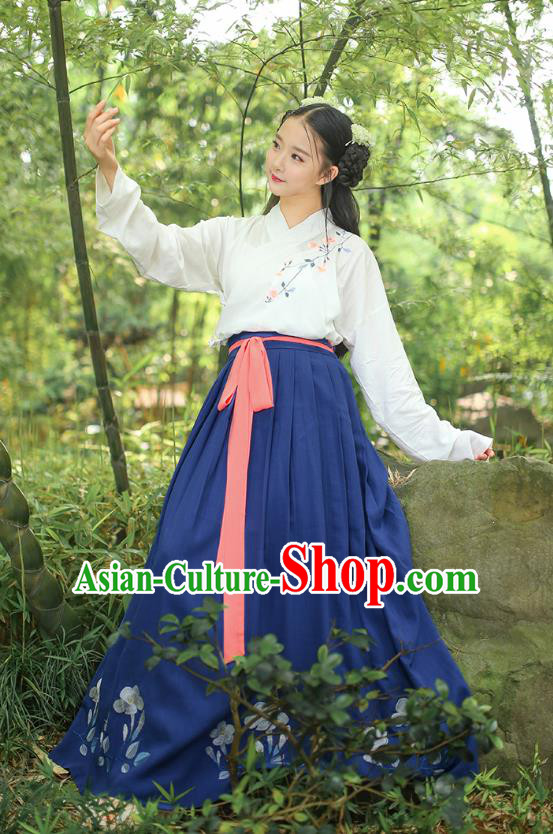 Asian Chinese Oriental Hanfu Costumes Han Dynasty Embroidered Blouse and Slip Skirts, Traditional China Ancient Princess Embroidery Clothing for Women