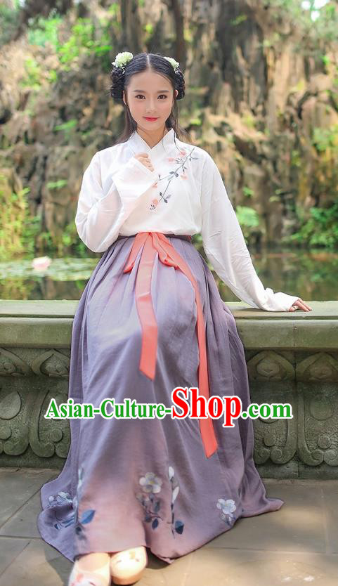 Asian Chinese Oriental Hanfu Costumes Han Dynasty Embroidered Blouse and Grey Slip Skirts, Traditional China Ancient Princess Embroidery Clothing for Women