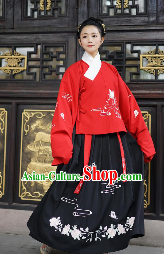 Traditional Asian Chinese Hanfu Costumes Ming Dynasty Palace Lady Embroidered Slant Opening Red Blouse and Skirts Complete Set