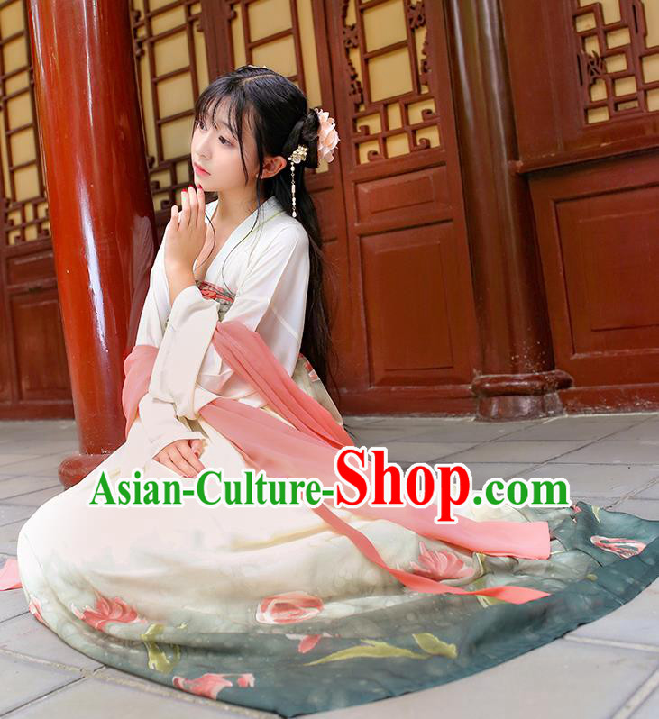 Traditional Chinese Hanfu Costumes Ancient Tang Dynasty Princess Chiffon Blouse and Green Printing Slip Skirts Complete Set