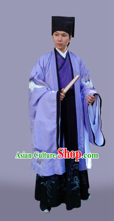 Traditional Chinese Ming Dynasty Costumes Purple Cloak and Robe Complete Set for Men
