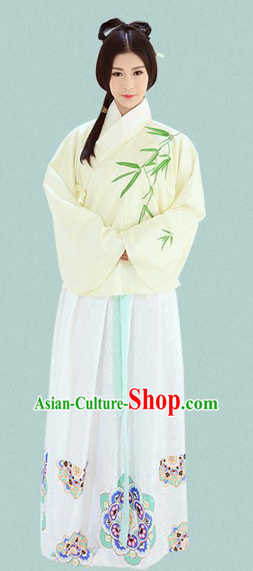 Traditional Chinese Ming Dynasty Imperial Consort Costumes Ancient Embroidered Bamboo Yellow Blouse and White Slip Skirts for Women