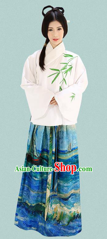 Traditional Chinese Ming Dynasty Imperial Consort Costumes Ancient Embroidered Bamboo White Blouse and Blue Slip Skirts for Women