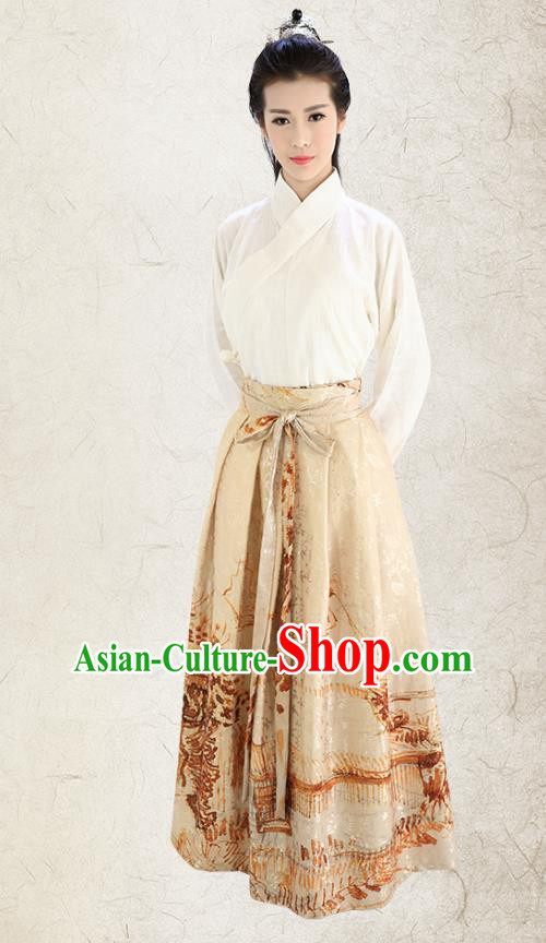 Traditional China Costume Embroidery White Blouse and Yellow Skirt Complete Set, Chinese Han Dynasty Princess Clothing for Women