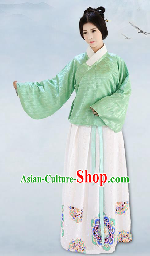 Traditional China Costume Embroidery Green Blouse and White Skirt Complete Set, Chinese Ming Dynasty Princess Clothing for Women
