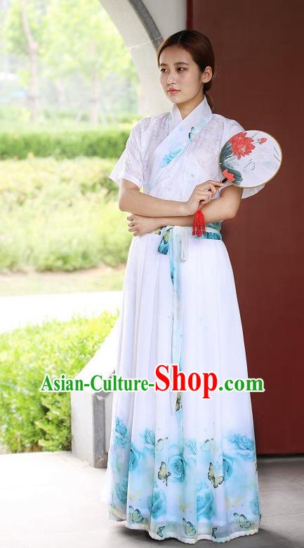 Traditional China Costume Embroidery Blouse and Slip Skirt, Chinese Han Dynasty Embroidered Clothing for Women