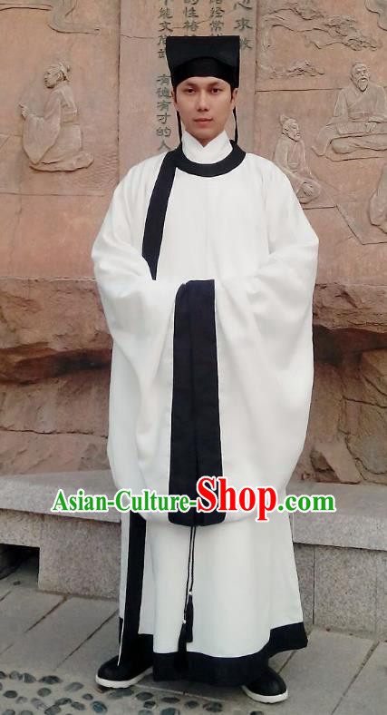 Traditional Oriental China Song Dynasty Costume Ancient Officer Gwanbok White Long Robe for Men