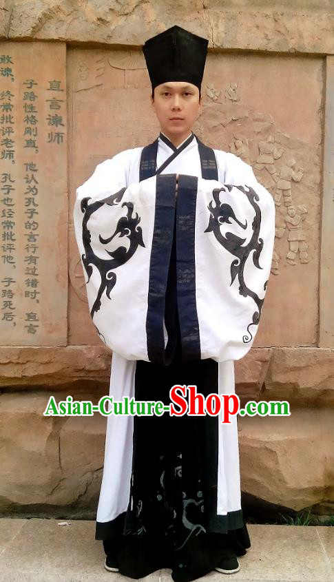 Traditional Oriental China Han Dynasty Costume Ancient Officer Gwanbok Cloak and Long Robe for Men