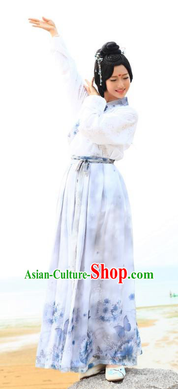 Traditional Oriental China Han Dynasty Costume Ancient Young Lady Blouse and Slip Skirt Complete Set for Women
