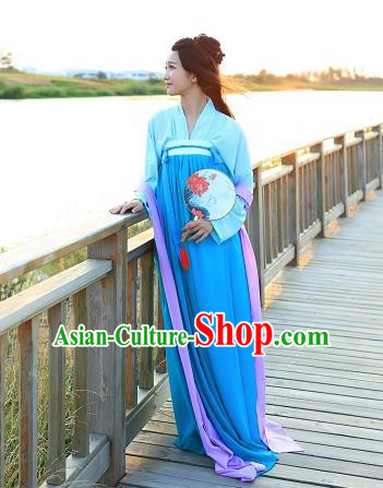Traditional Chinese Hanfu Costumes Ancient Tang Dynasty Imperial Consort Blouse and Blue Slip Skirts Complete Set for Women