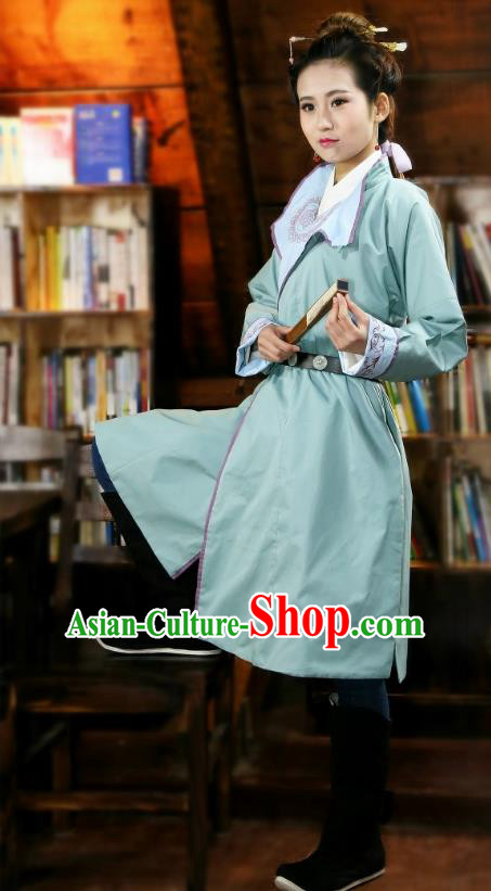 Traditional Chinese Hanfu Costumes Ancient Ming Dynasty Imperial Guards Green Robe for Women