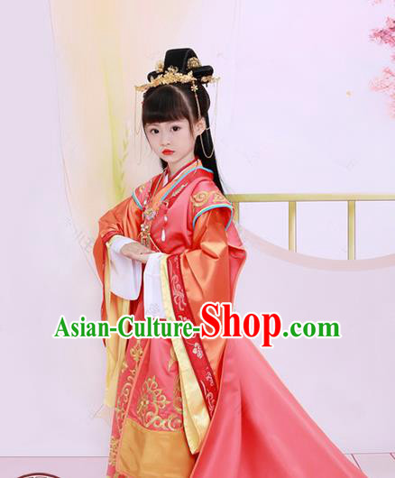 Traditional Chinese Tang Dynasty Imperial Princess Tailing Embroidered Red Dress Clothing and Headpiece for Kids
