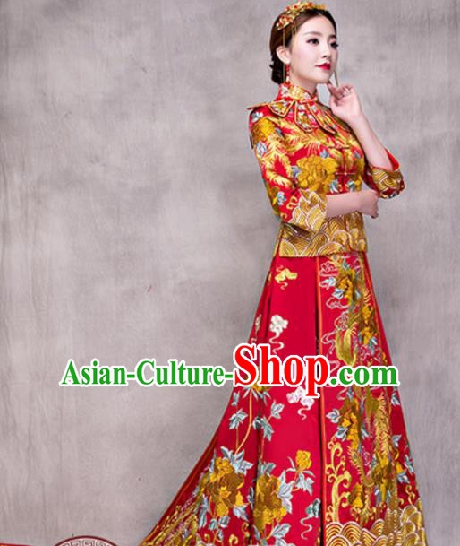 Traditional Ancient Chinese Costume Trailing Red Xiuhe Suits Chinese Style Wedding Embroidery Dragon and Phoenix Bride Cheongsam Clothing for Women