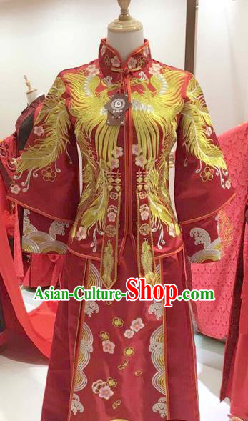 Traditional Ancient China Costume Xiuhe Suits Chinese Wedding Embroidery Phoenix Bride Cheongsam Clothing for Women