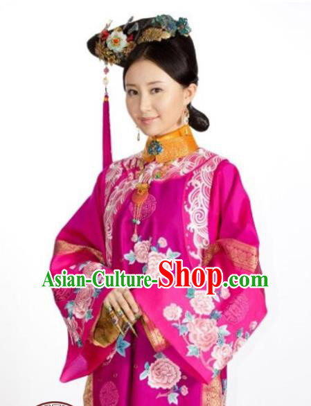 Traditional Ancient Chinese Imperial Consort Costume and Headpiece Complete Set, Chinese Qing Dynasty Manchu Lady Embroidered Clothing for Women