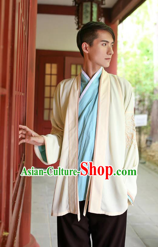 Traditional Chinese Hanfu Costumes Ancient Han Dynasty Young Men Embroidery Yellow Shirts