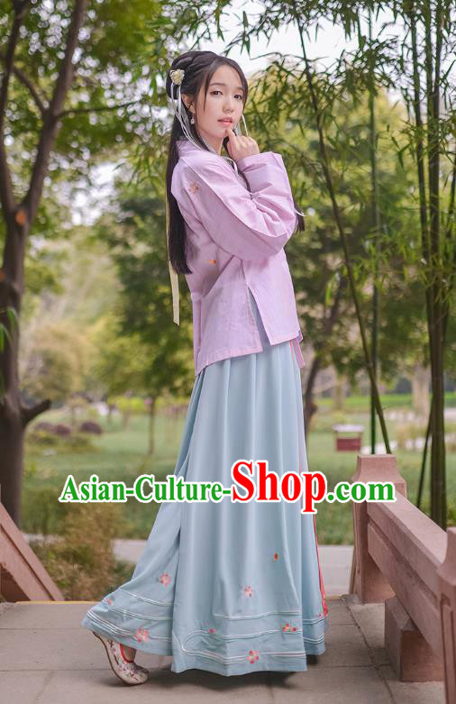 Traditional Chinese Hanfu Costumes Ancient Han Dynasty Young Lady Embroidery Purple BeiZi Blouse and Skirts Complete Set