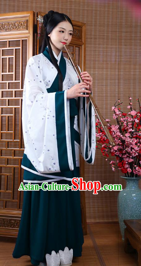 Traditional Ancient China Costume Palace Lady Green Curve Bottom, Chinese Hanfu Han Dynasty Princess Embroidered Clothing for Women