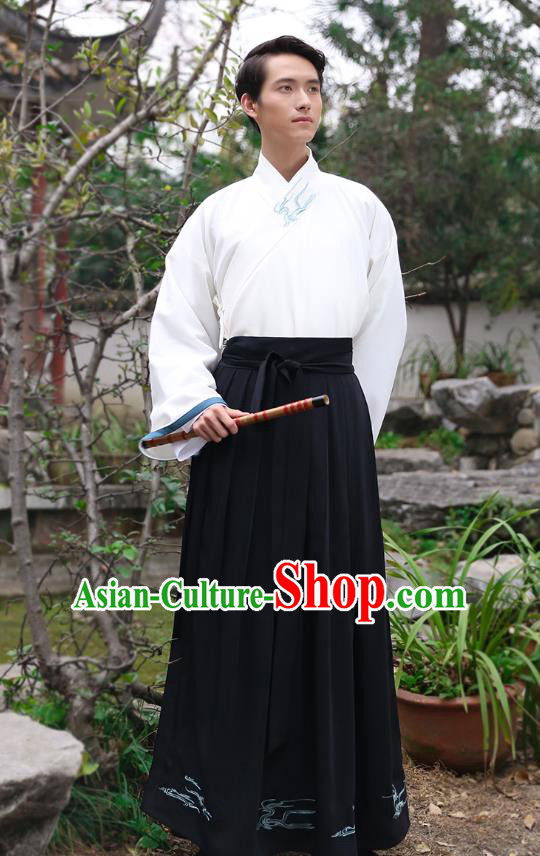 Traditional Chinese Hanfu Costumes Ancient Han Dynasty Young Men Embroidery Slant Opening Shirts and Black Skirts Complete Set