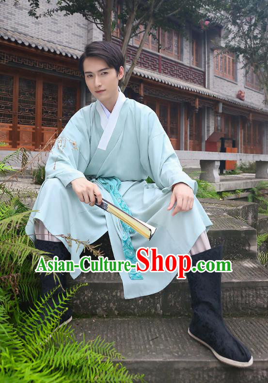 Traditional Chinese Ancient Costumes Asian China Ming Dynasty Swordsmen Embroidery Clothing Blue Long Robe for Men