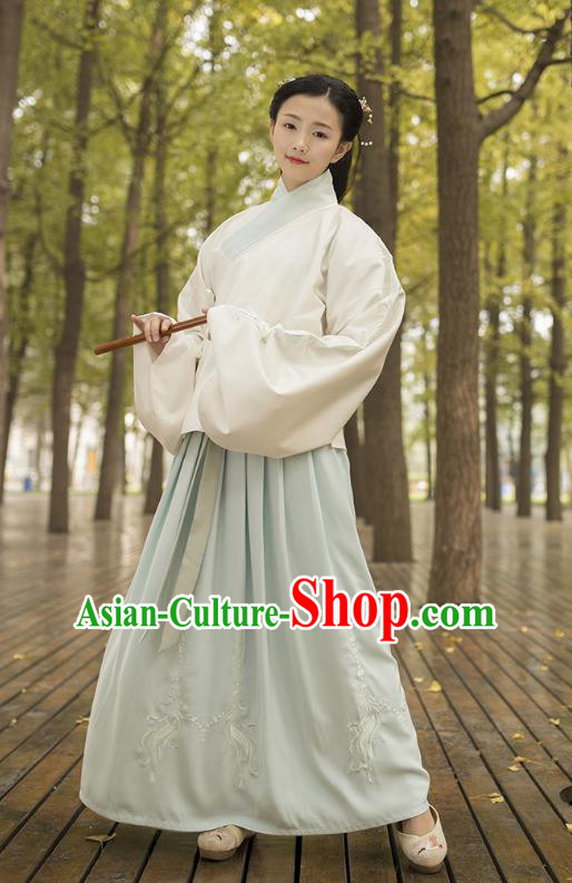 Traditional Chinese Ancient Costumes, Asian China Ming Dynasty Palace Lady Princess Clothing Embroidery White Blouse and Green Skirt Complete Set