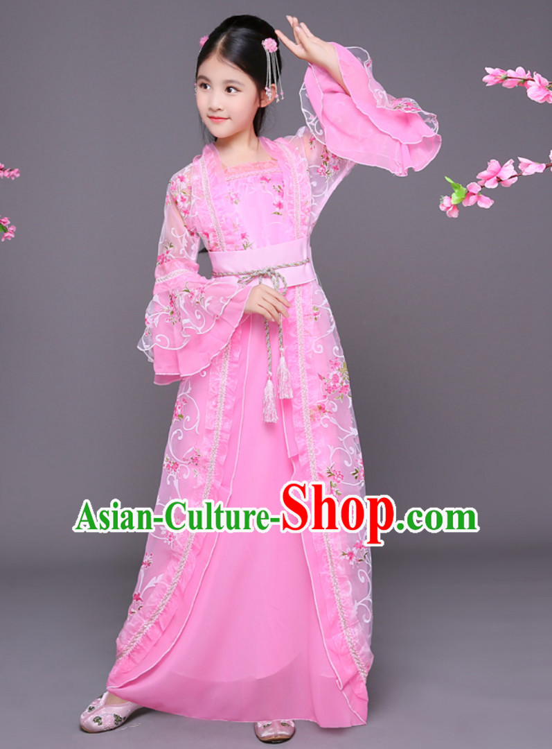 Ancient Chinese Palace Princess Costume and Headpieces Complete Set for Girls Children Kids