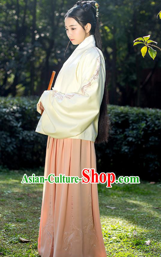 Traditional Chinese Ancient Costumes, Asian China Ming Dynasty Palace Lady Princess Clothing Embroidery Yellow Blouse and Pink Skirt Complete Set