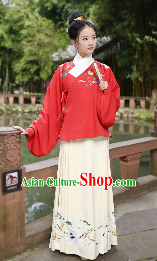 Ancient Chinese Palace Princess Hanfu Costume, Traditional China Ming Dynasty Palace Lady Red Embroidery Crane Blouse and Yellow Skirt Complete Set