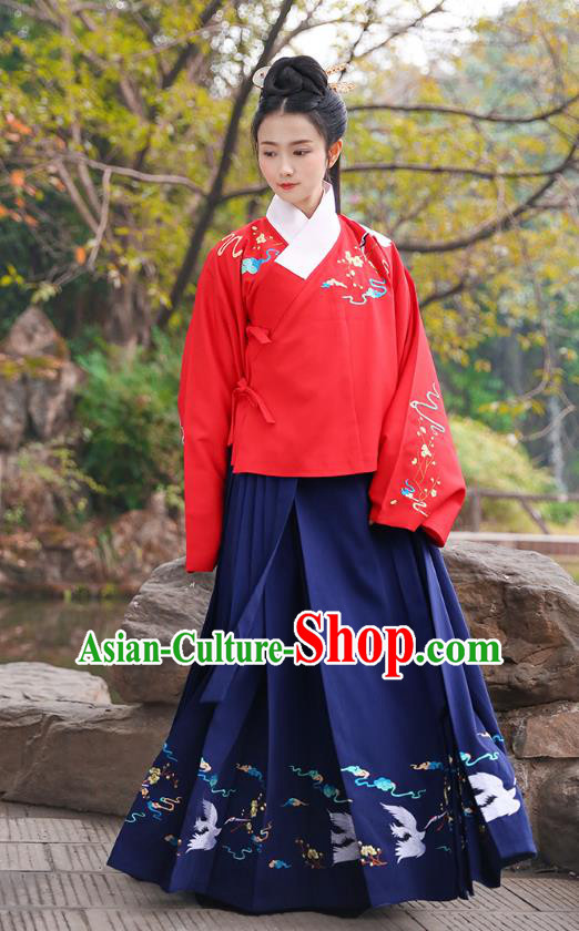 Ancient Chinese Palace Princess Hanfu Costume, Traditional China Ming Dynasty Palace Lady Red Embroidery Crane Blouse and Navy Skirt Complete Set