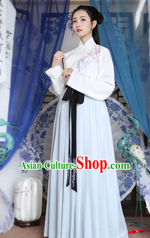 Traditional Chinese Ancient Young Lady Hanfu Costumes, Asian China Han Dynasty Palace Princess Embroidery Blouse and Blue Slip Skirts for Women