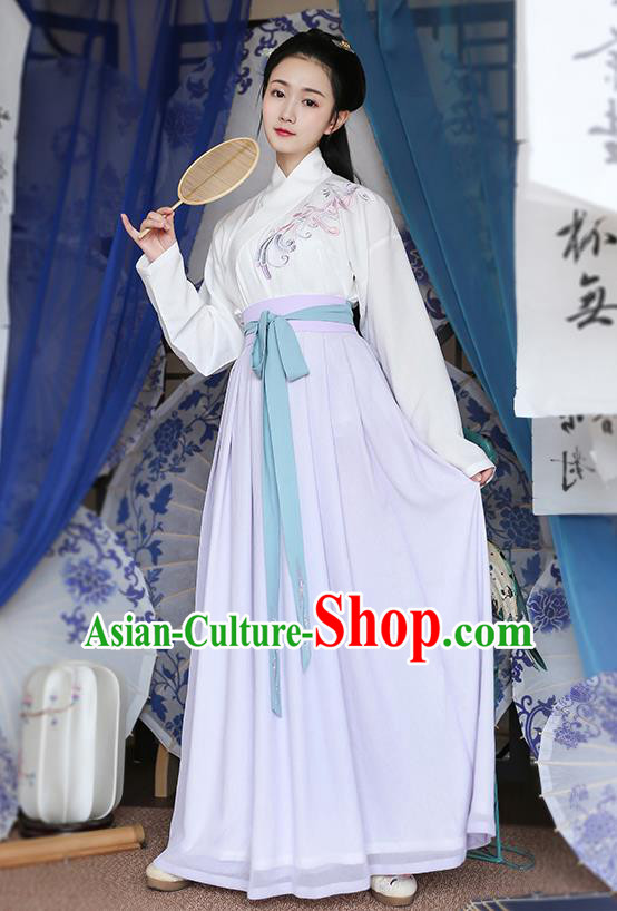 Traditional Chinese Ancient Young Lady Hanfu Costumes, Asian China Han Dynasty Palace Princess Embroidery Blouse and Purple Slip Skirts for Women