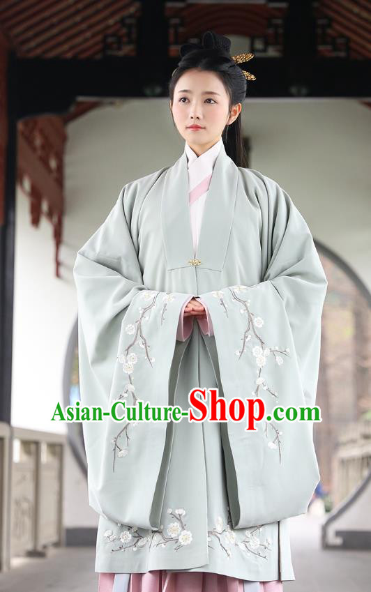 Traditional Chinese Ancient Hanfu Imperial Princess Costume, Asian China Ming Dynasty Palace Lady Embroidery Plum Blossom Green Cloak for Women
