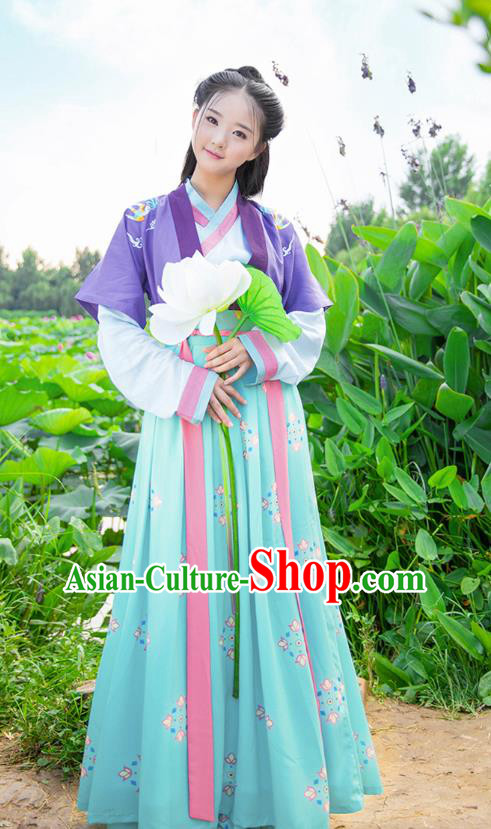 Traditional Chinese Ancient Hanfu Imperial Princess Costume, Asian China Song Dynasty Young Lady Embroidery Half-Sleeves and Slip Dress for Women