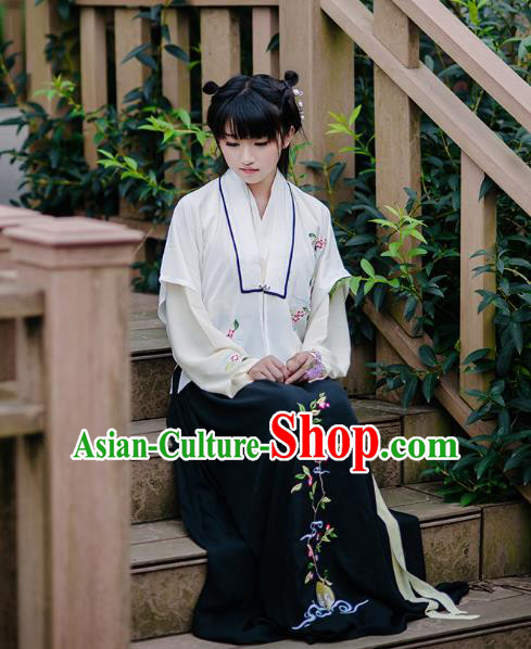 Traditional Chinese Ancient Hanfu Princess Costume, Asian China Song Dynasty Young Lady Embroidery White Half-Sleeves and Slip Dress for Women