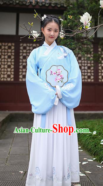 Traditional Chinese Ancient Princess Hanfu Costumes, Asian China Ming Dynasty Palace Lady Embroidery Blue Blouse and Skirts for Women