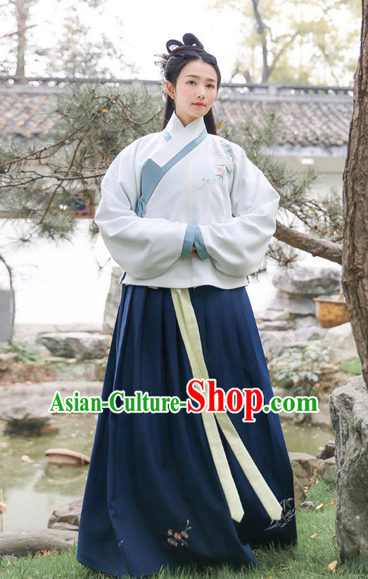 Traditional Chinese Ancient Princess Hanfu Costumes, Asian China Ming Dynasty Palace Lady Embroidery Blouse and Navy Slip Skirts for Women