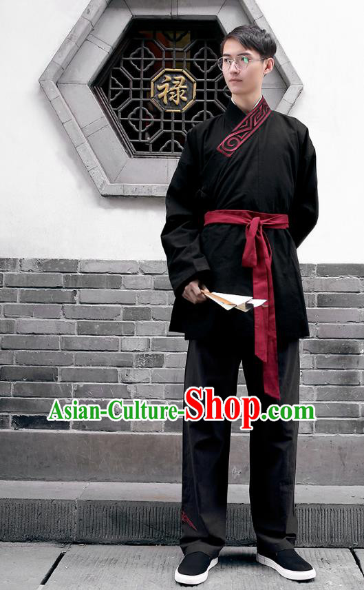 Traditional Chinese Ancient Hanfu Costumes, Asian China Han Dynasty Embroidery Black Blouse and Pants for Men