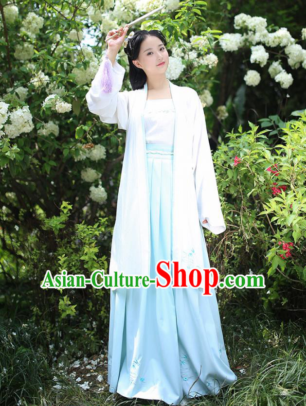 Traditional Chinese Ancient Hanfu Young Lady Costumes, Asian China Han Dynasty Embroidery Bamboo BeiZi Cardigan for Women