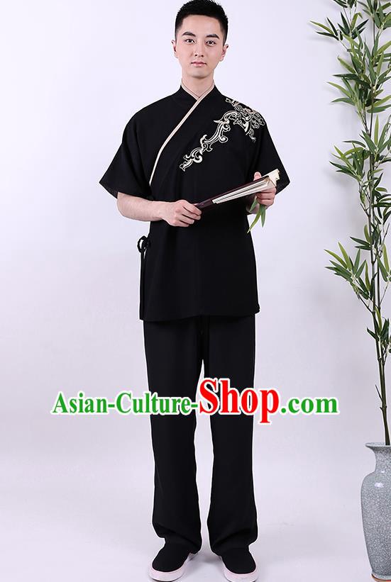 Traditional Chinese Ancient Hanfu Costumes, Asian China Han Dynasty Embroidered Black Shirt for Men