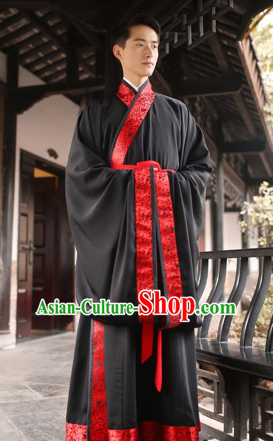 Traditional Chinese Ancient Minister Hanfu Wedding Costumes, Asian China Han Dynasty Groom Embroidered Black Clothing for Men