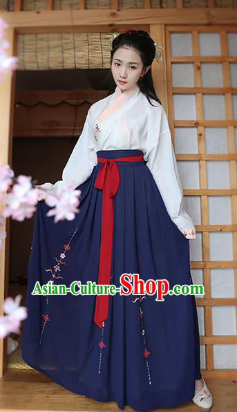 Traditional Chinese Ancient Young Lady Hanfu Costume, Asian China Song Dynasty Princess Embroidered Blouse and Navy Skirts for Women