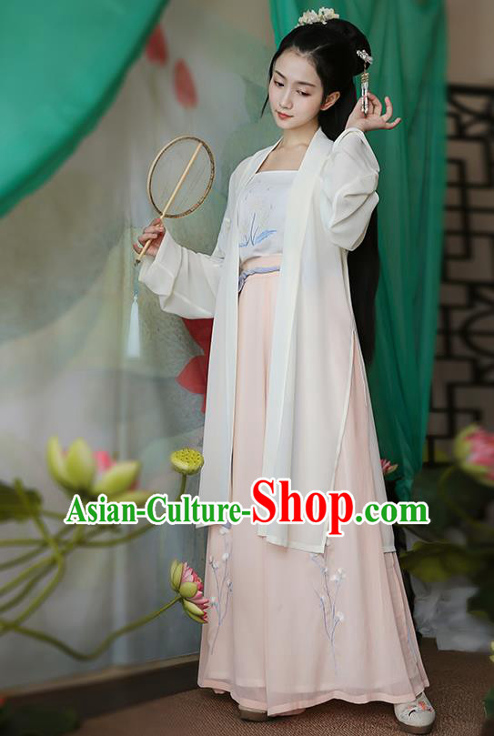 Traditional Chinese Ancient Hanfu Princess Costume White Cardigan, Asian China Song Dynasty Palace Lady Embroidered Clothing for Women