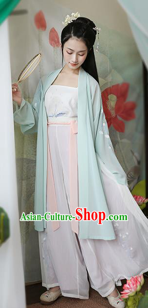 Traditional Chinese Ancient Hanfu Princess Costume Green Cardigan, Asian China Song Dynasty Palace Lady Embroidered Clothing for Women