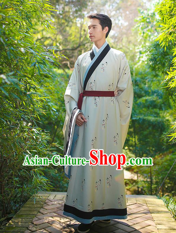 Traditional Chinese Ancient Hanfu Swordsman Costume, Asian China Han Dynasty Imperial Bodyguard Embroidered White Long Robe for Men