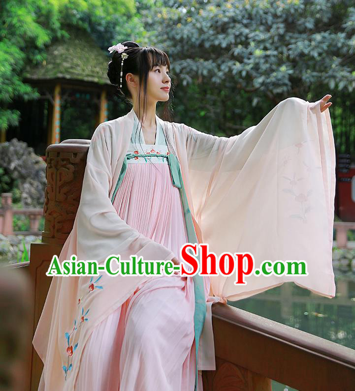 Traditional Chinese Ancient Hanfu Princess Costume Pink Cardigan, Asian China Tang Dynasty Palace Lady Embroidered Clothing for Women