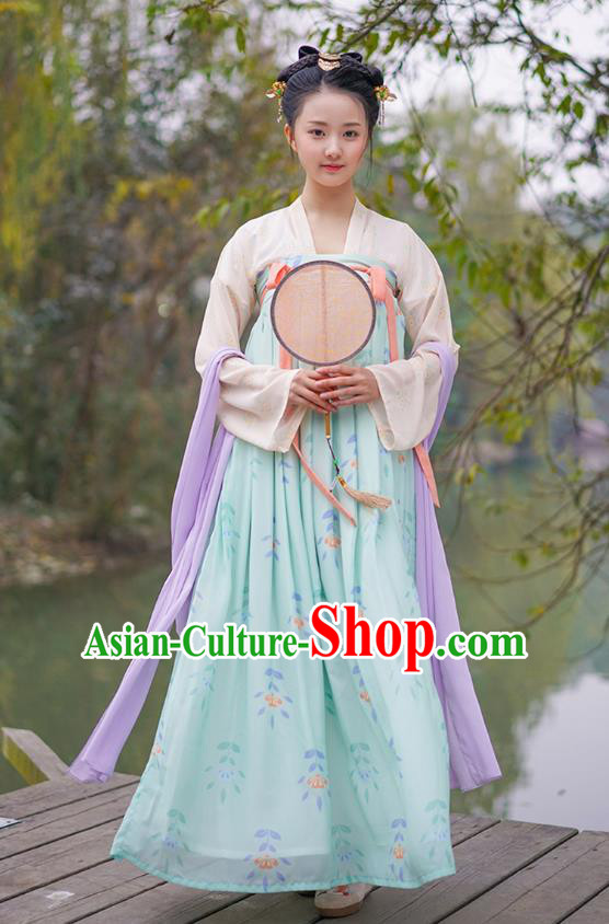 Traditional Chinese Ancient Hanfu Princess Costume Embroidered Slip Skirt, Asian China Tang Dynasty Palace Lady Clothing for Women