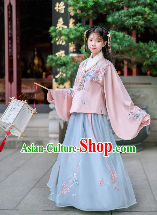 Traditional Chinese Ancient Hanfu Costume Palace Lady Dress, Asian China Ming Dynasty Embroidered Pink Clothing for Women