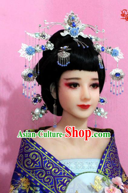 Traditional Handmade Chinese Hair Accessories Bride Wedding Blue Phoenix Coronet Complete Set, Empress Tassel Step Shake Hair Jewellery Hairpins for Women